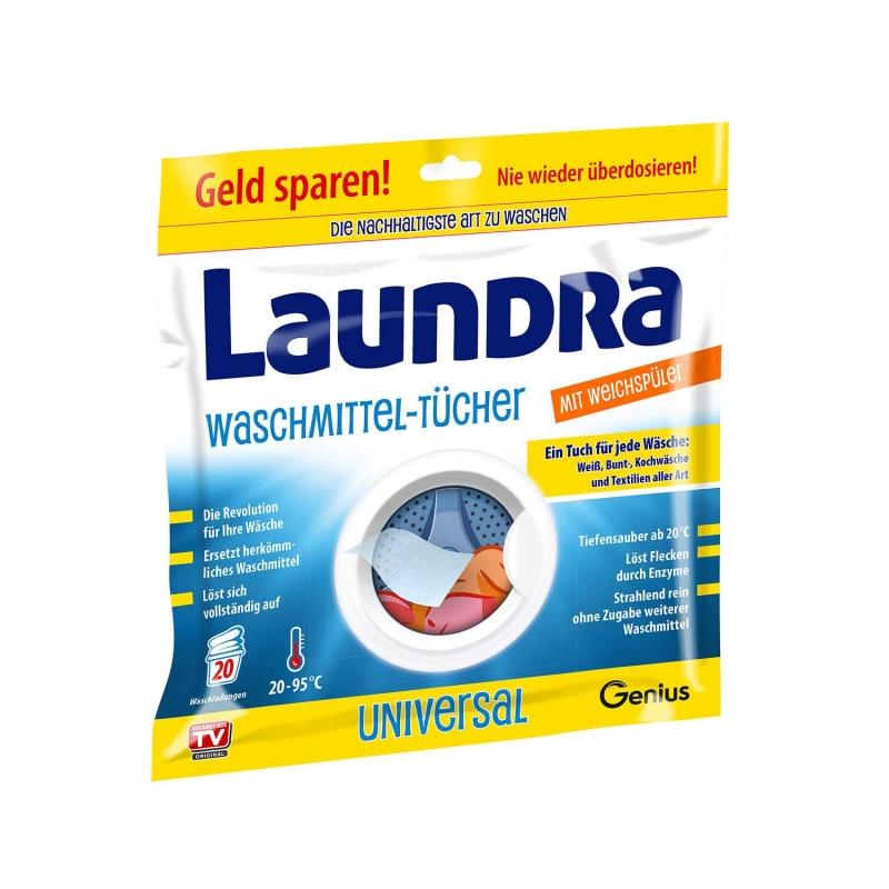 Laundra   Waschmittel-Tücher mit Weichspüler   Set 20-tlg.